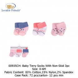 Luvable Friends Baby Terry Socks with Non-Skid (3's/Pack) 00935CH