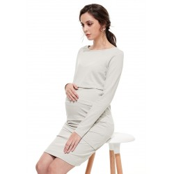 Mamaway Ultra-stretch Maternity and Nursing Dress (Gray)
