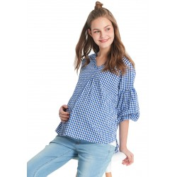 Mamaway Plaid Loose Top with Maternity and Nursing Vest (Blue)