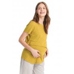 Mamaway Asymmetrical Maternity and Nursing Long Top (Yellow)