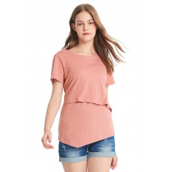 Mamaway Asymmetrical Maternity and Nursing Long Top (Pink)