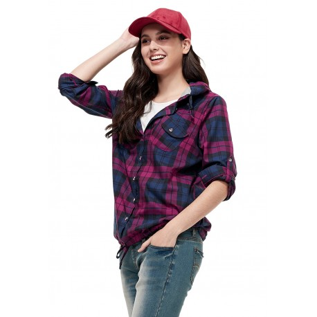 Mamaway Plaid Maternity and Nursing Hoodie (Red)