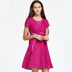Mamaway Lace Cross-over Maternity & Nursing Dress (Pink)
