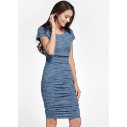 Mamaway Stone and Lace Maternity & Nursing Bodycon Dress (Blue)