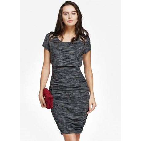 Mamaway Stone and Lace Maternity & Nursing Bodycon Dress (Grey)