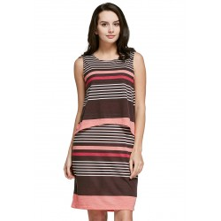 Mamaway Stripe Sleeveless Double Layer Maternity & Nursing Dress (Coffee Pink)
