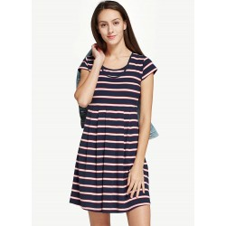 Mamaway Classic Maternity & Nursing Skater Dress (Stripe)