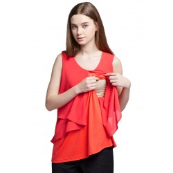 Mamaway Chiffon Layers Sleeveless Maternity & Nursing Top (Orange)
