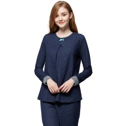 Mamaway Cotton Candy ​Maternity and Nursing Pajamas Sleepwear Set Baju Tidur (Navy Blue)