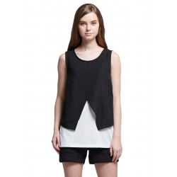 Mamaway Chiffon Color Block Maternity & Nursing Top (Black)
