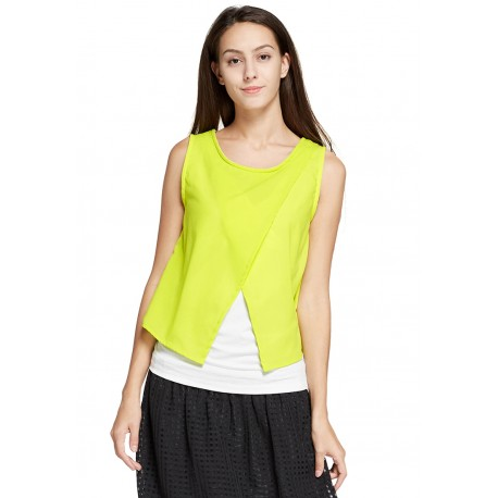 Mamaway Chiffon Color Block Maternity & Nursing Top (Yellow)