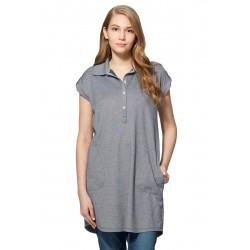 Mamaway Cool Dry Polo Maternity & Nursing Dress (Blue)