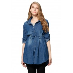 Mamaway Cotton Maternity & Nursing Shirt Dress (Blue)