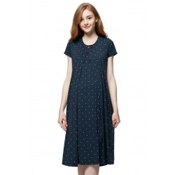 Mamaway Mickey Dotty Maternity & Nursing Pajama Dress (Navy)