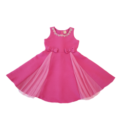Kiwi Kiwi Flare Party Dress with Netting for Kids