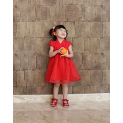 Kiwi Kiwi Chinese New Year Flare Dress with Korean Lace for Kids