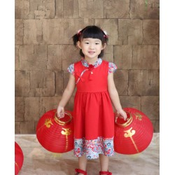 Kiwi Kiwi Chinese New Year Flare Dress Matching with Dragon Ptd for Kids