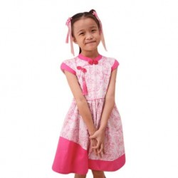 Kiwi Kiwi CNY Cheongsam/Qipao Flare Dress with Embroidery Fabric for Kids