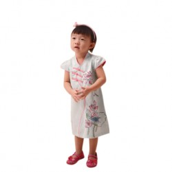 Kiwi Kiwi Chinese New Year Modern Cheongsam/Qipao with Lotus Printing for Kids
