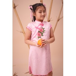 Kiwi Kiwi CNY Traditional Cheongsam/Qipao with 3D Embroidery Patch for Babies (Pink)