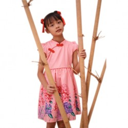 Kiwi Kiwi CNY Cheongsam Flare Dress with Digital Printed for Kids (Pink)