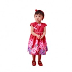 Kiwi Kiwi CNY Cheongsam Flare Dress with Digital Printed for Kids