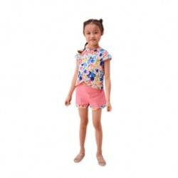 Kiwi Kiwi Cny Cheongsam Top Suit with Woven Cotton Short Pant for Babies