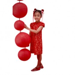 Kiwi Kiwi CNY Cheongsam/Qipao with Fully Lace Fabric for Kids (KK-82030/S.Red)