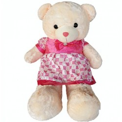Maylee Big Plush Teddy Bear with Skirt Dark Pink (L) 100cm