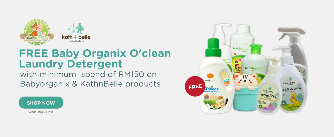 FREE Baby Organix O'clean Laundry Detergent with minimum  spend of RM 150 on Babyorganix and KathnBelle products