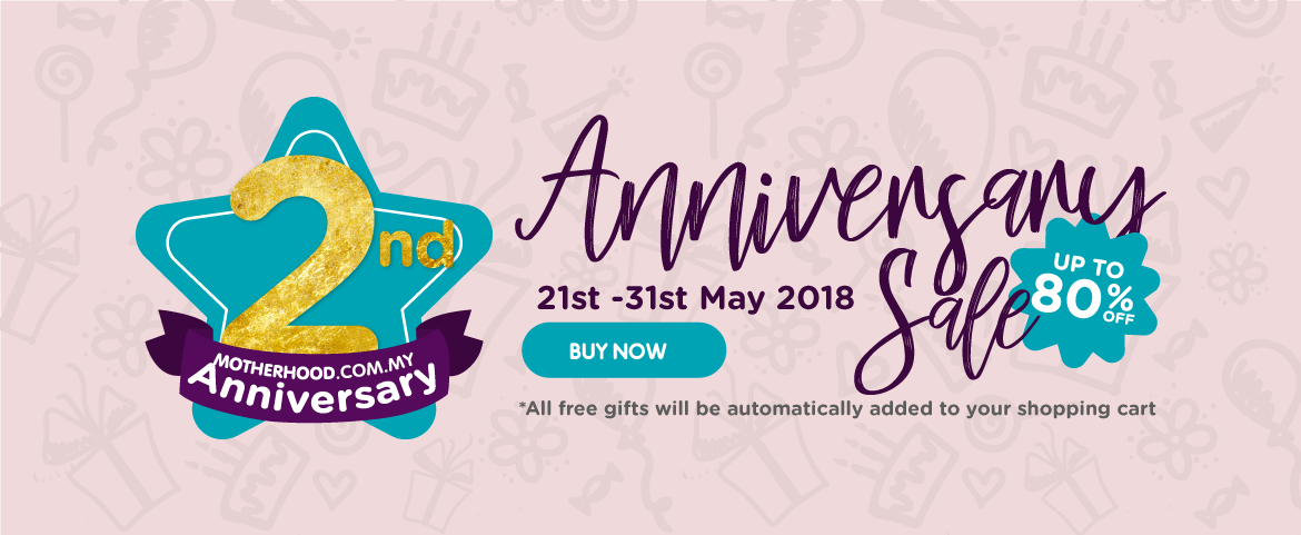 Motherhood.com.my 2nd anniversary. up to 80% OFF. Deals  as low as RM2. 1000+ freebies