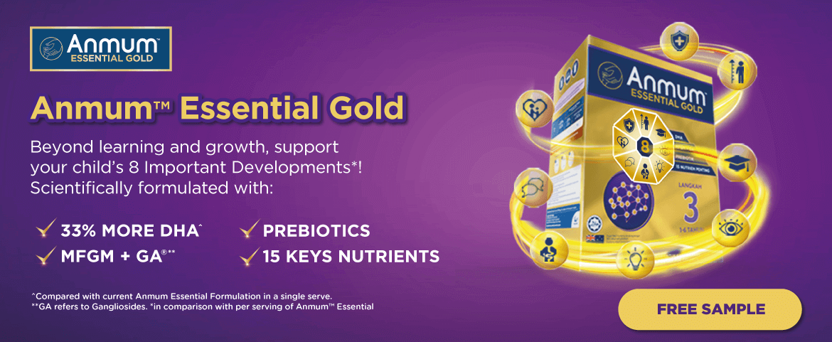 Anmum Essential Gold (Sept) - Support your child's 8 Important Developments*! Get FREE Sample now!