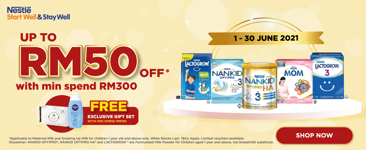 Nestle Nutrition - Up to RM50 OFF with minimum spend RM300