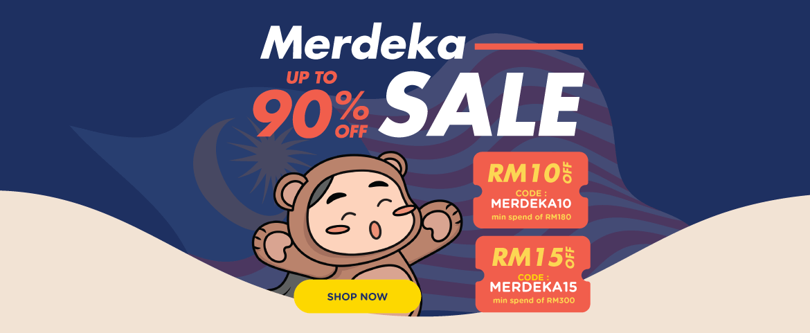 Merdeka Sale Up to 90% Off | Voucher Up to RM15 OFF