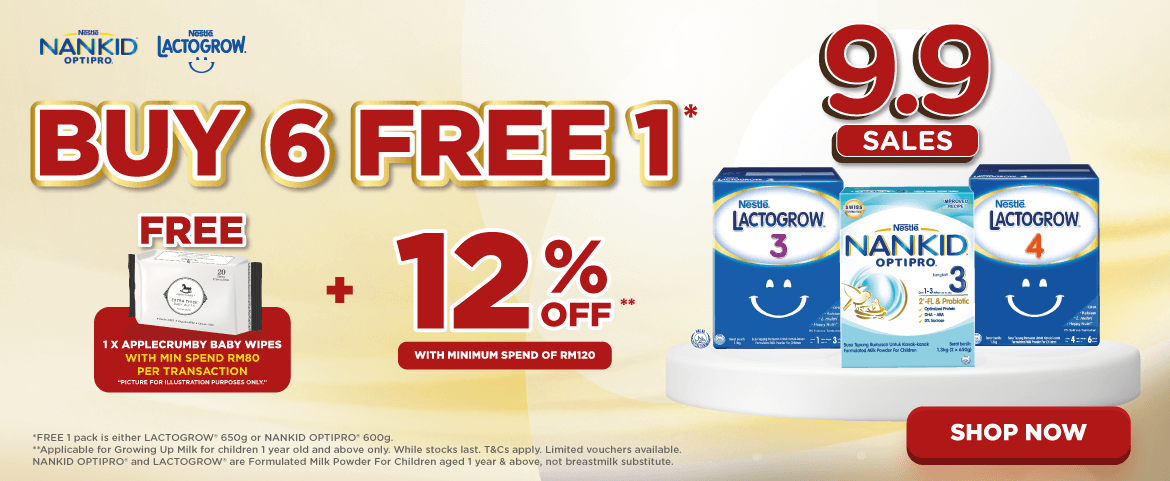 Nestle 9.9 Sales - Buy 6 FREE 1* and Get FREE 1 X Applecrumby Baby Wipes + 12% OFF with min spend RM120