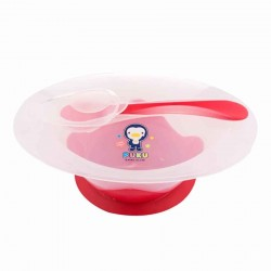 PUKU Non-Skid Non-Slide Baby Feeding Bowl with Spoon (Red) / Suitable 6m+ Baby