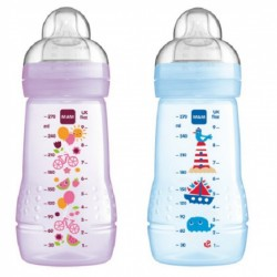 MAM Baby Bottle 270ml Twin Pack - Blue + Lilac