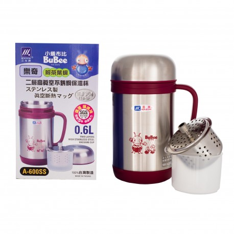Bubee A-600SS 0.6L Vacuum Mug with Tea Filter & Cup (Red)