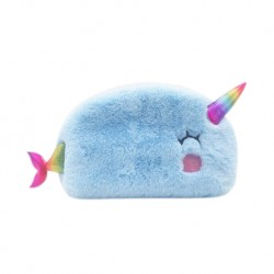 Inky Plush Collection Furry Pencil Case (Narwhals)