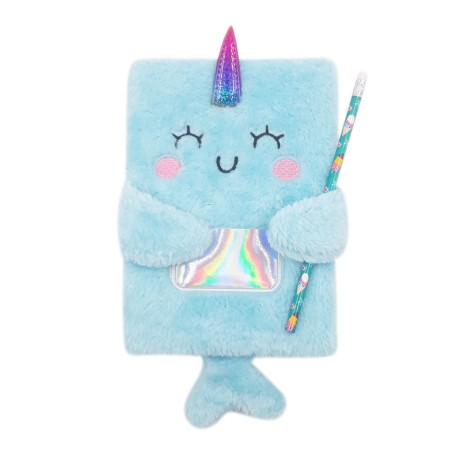 Inky Plush Collection Furry Notebook (Narwhals)
