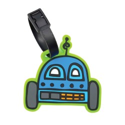 Inky Happy Robots Luggage Tag