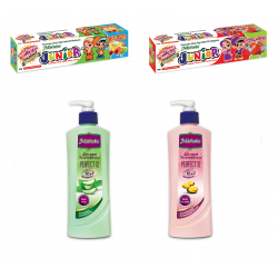 Mu'min Junior Strawberry & Fruities 50g + Losyen Tangan & Badan - Aloe Vera & Multivitamin 400ml  Bundle