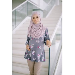 MUMSLUV Nuha Printed Blouse – Floral in Dark Grey