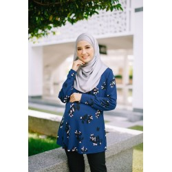 MUMSLUV Nuha Printed Blouse – Floral in Navy Blue