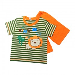 Pigeon Basic Boy Short Sleeve Tee & Bermuda Pants - Green Stripe Lion King FS