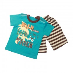 Pigeon Basic Boy Short Sleeve Tee & Bermuda Pants - Blue Wild Life Safari Tiger FS