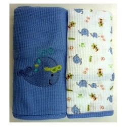 OWEN Baby Thermal Blanket, 2 Piece Set - BLUE