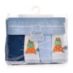 OWEN Baby Terry Washcloth, 4 Piece Set (BLUE)
