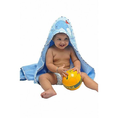 OWEN Whale Terry Hooded Towel with Washcloth