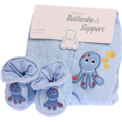 OWEN Baby Bathrobe and Booties Set (BLUE)
